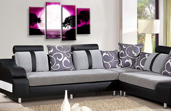 Abstract Landscape Grey Purple White Big Moon Wall Art Picture